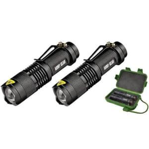 Army Gear 500-Lumen Flashlight 2-Pack w/ Case for $13