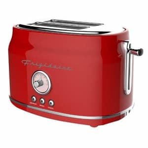 Frigidaire ETO102-RED Retro Wide 2-Slice Toaster Perfect for Bread, English Muffins, Bagels, 5 for $25
