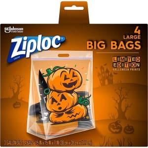 Ziploc 3-Gallon Halloween Storage Bag 4-Pack for $2