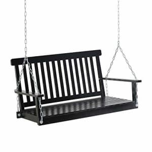 Outsunny 2 Seater Outdoor Porch Swing Chair Seat with Slat Design, Hanging Chains Wooden Hammock for $210