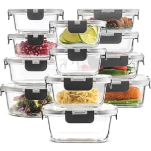FineDine 24-Piece Glass Food Storage Set for $35