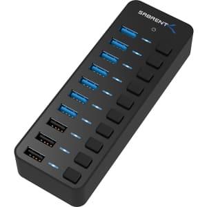 Sabrent 60W 10-Port Powered USB 3.0 Hub for $40