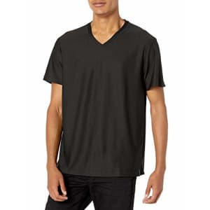 Perry Ellis Men's Standard Performance V-Neck Tee Shirt, Twill Black, Small for $26
