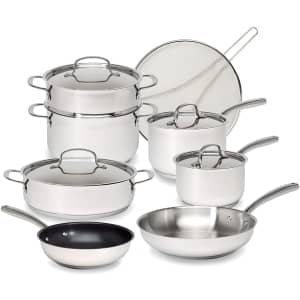 Goodful Classic 12-Piece Stainless Steel Cookware Set for $104
