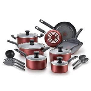 T-fal, Dishwasher Safe Cookware Set, 18 Piece, Red Initiatives Nonstick Inside for $99