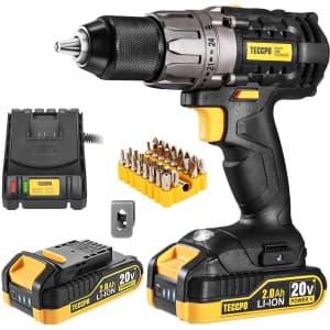 Teccpo 20V Cordless Drill Driver Set for $100