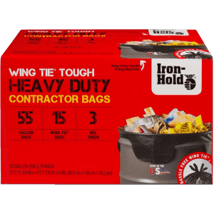 Iron-Hold 55-Gal. Wing Tie Tough Contractor Bags 15-Pack for $13 for members
