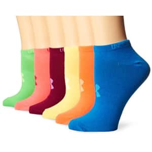 Under Armour Women's Liner No-Show Socks (6 Pairs), Brights/Assorted Colors, Medium for $68