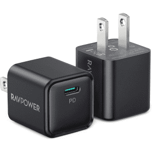 RAVPower 20W USB-C PD Wall Charger 2-Pack for $10