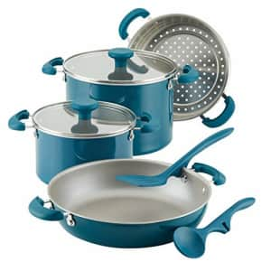 Rachael Ray 8-Piece Aluminum Cookware Set, Teal Shimmer for $136