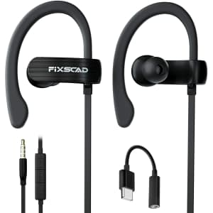Fixscad Wrap Around Wired Earphones with Microphone for $10