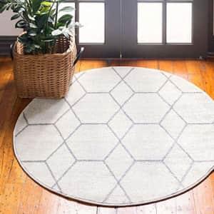 Unique Loom Trellis Frieze Collection Lattice Moroccan Geometric Modern Round Rug, 3 Feet, for $40