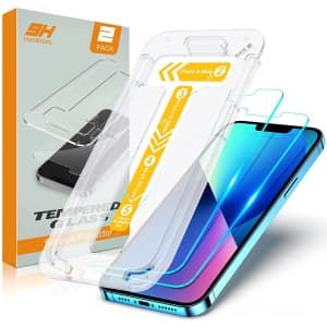 Stoon Tempered Glass Screen Protector 2-Pack with Bubble Free Installation Tray for iPhone 13/13 Pro for $3
