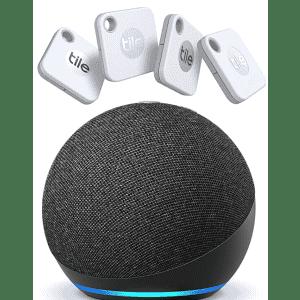 Tile Mate 4-Pack w/ Echo Dot for $80
