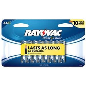Rayovac Alkaline AA Batteries, 815-16SCF, 16-Pack for $25