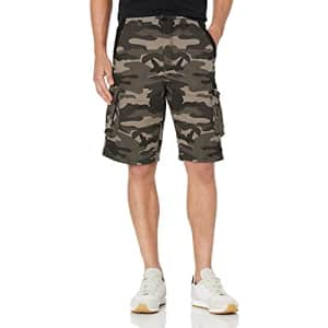Beverly Hills Polo Club Men's Basic Cargo Shorts Non-Belted, Black Camo 6054A, 30 for $12