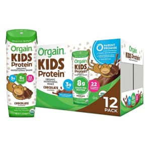 Orgain Organic Kids Protein Nutritional Shake 12-Pack for $16 via Sub & Save