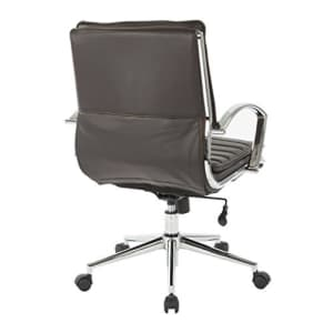 Office Star Faux Leather Mid Back Managers Chair with Loop Arms and Chrome Base, Espresso for $315