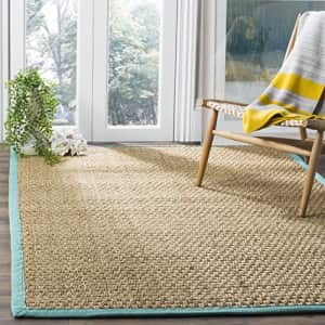 Safavieh Natural Fiber Collection NF114R Basketweave Natural and Teal Summer Seagrass Area Rug (3' for $41