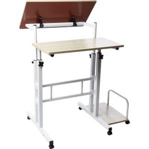 Mind Reader 2-Tier Adjustable Sit and Stand Mobile Workstation Desk for $55