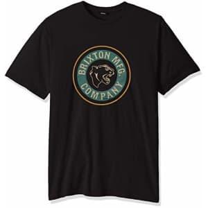Brixton Men's Forte Standard FIT Short Sleeve T-Shirt, Washed Black, S for $28