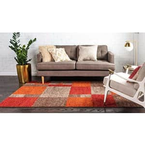 Unique Loom Autumn Collection Warm Toned Contemporary Abstract Checkered Color Block Area Rug (4' 0 for $34