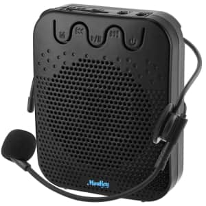Moukey Portable Voice Amplifier with Wired Microphone Headset for $18