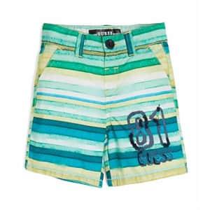 GUESS Boys' Little Printed POPLIN Short, Multicolor Stripes, 5 for $24