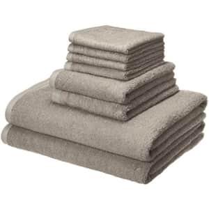 Amazon Basics Quick-Dry, Luxurious, Soft, 100% Cotton Towels, Platinum - 8-Piece Set for $29