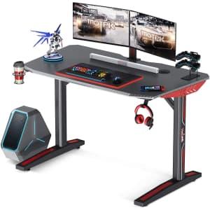 """Motpk 40"""" Carbon Fiber Gaming Desk with Cup Holder for $90"""
