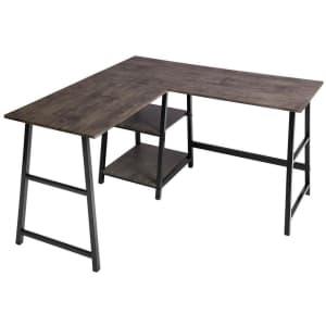"""FurnitureR 44"""" L-Shaped Computer Desk w/ Shelves for $133"""