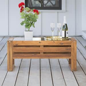 Walker Edison Furniture Company AZWOSCTBR Modern Outdoor Patio Wood and Glass Rectangle Coffee for $359