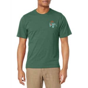G.H. Bass & Co. Men's Short Sleeve Graphic Print T-Shirt, Jungle Green Heather, Small for $15