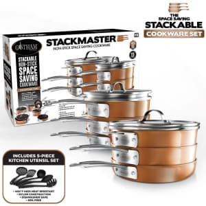 Gotham Steel StackMaster 15-Piece Nonstick Space-Saving Cookware Set for $149