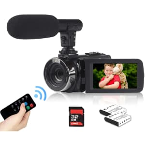 Heegomn 2.7K Video Camera Camcorder with Microphone for $80