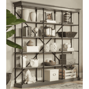 """HomeSullivan Manor Drive 84"""" Triple-Wide 5-Shelf Etagere Bookcase for $722"""