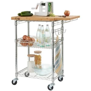Trinity Pro EcoStorage Expandable Bamboo-Top Kitchen Cart for $127