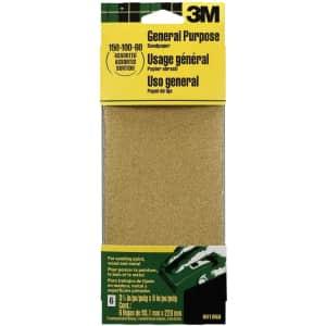 3M General Purpose Sandpaper Sheets 6-Pack for $3