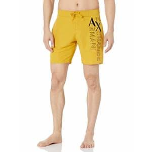 A|X Armani Exchange Men's Large Side Logo Swim Trunks, Lemon Curry, L for $68