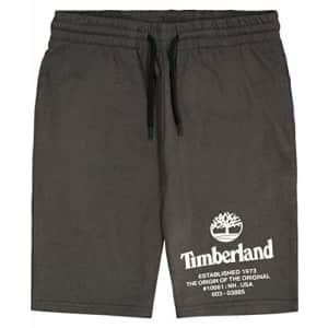 Timberland Boys' Drawstring Logo Knit Shorts, Forged Iron, Small (8) for $21