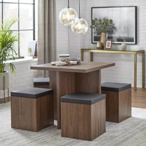 Simple Living Baxter Dining Set with Storage Ottoman Seats for $250