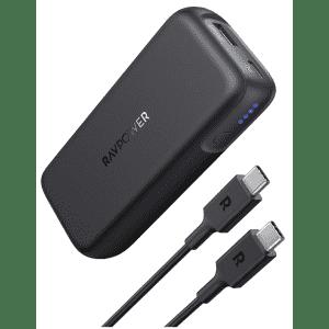 RAVPower 10,000mAh 2-Port USB-C Power Bank for $21