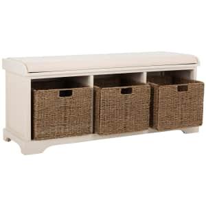 "Safavieh Lonan 47"" Cushioned Solid Wood Storage Bench w/ 3 Bins for $165"