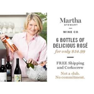 Martha Stewart Wine Summer Rosé 6-Pack for $55 + free corkscrew