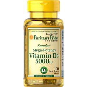 Puritan's Pride 2 Pack of Vitamin D3 5000 IU Puritan's Pride Vitamin D3 5000 IU-100 Softgels for $7