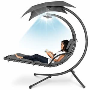Best Choice Products Hanging LED-Lit Curved Chaise Lounge Chair Swing for Backyard, Patio, Lawn w/ for $240