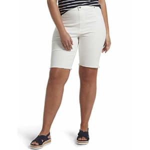HUE Women's Ultra Soft Denim High Waist Bermuda Shorts, White, Medium for $32