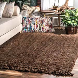 nuLOOM Natura Collection Chunky Loop Jute Rug, 4' x 6', Chocolate for $161