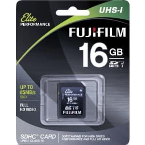 Fujifilm Elite 16GB SDHC Class 10 UHS-1 Flash Memory Card 600x / 90MB/s for $5