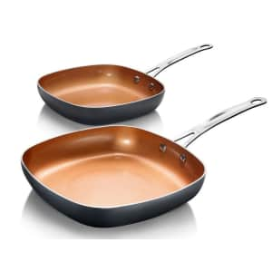 Gotham Steel Aluminum Ti-Ceramic Nonstick Square Fry Pan 2-Piece Set for $34